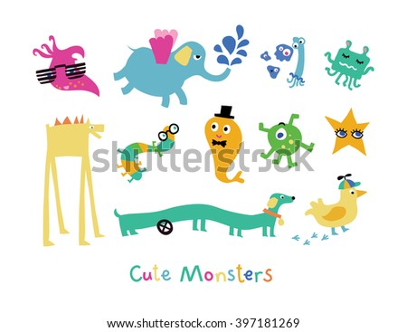 Cute monsters collection. Funny Illustration.