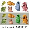 Cute monsters isolated - stock vector