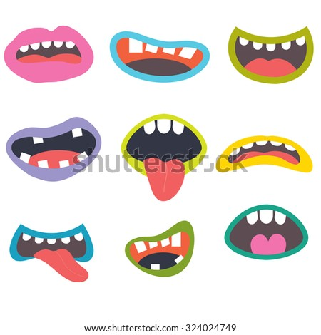 Cute Monsters Mouths - stock vector