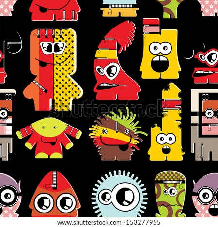 Cute monsters on black - seamless pattern