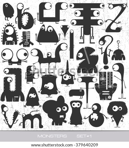 cute monsters on grunge background. vector set. cartoon illustration - stock vector