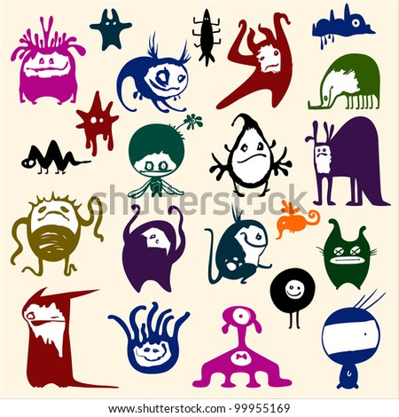Cute monsters set. Funny fantasy creatures, colorful - stock vector