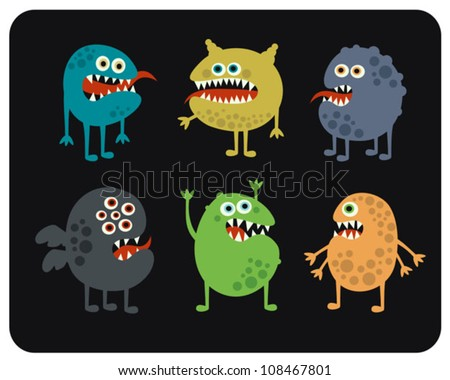 Cute monsters set. Vector illustration. - stock vector
