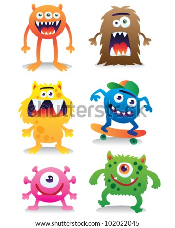 Cute monsters vector set - stock vector