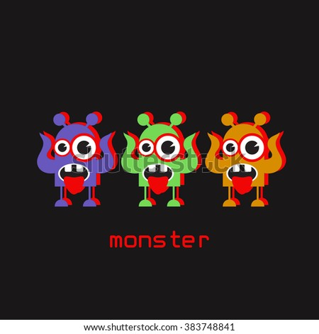 Cute monsters with red shadow. Cartoon characters.  - stock vector