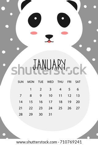 Cute Month Calendar Design 2018 Year Stock Vector 710769241 ...