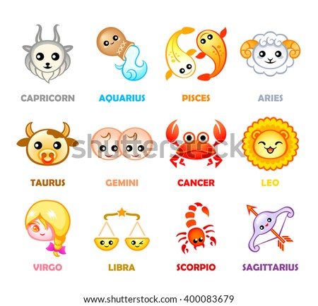 Cute months zodiac symbols in Japanese style - stock vector