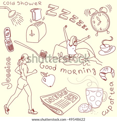 Cute morning doodles - stock vector