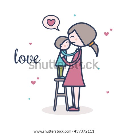 Cute mother and son vector illustration with hearts. Postcard design. Love. - stock vector