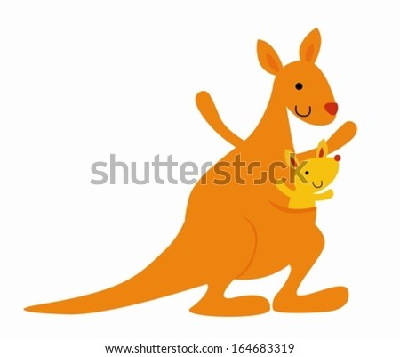 Cute mother kangaroo with her little baby - stock vector