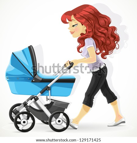 Cute mother with a blue pram on walk isolated on white background - stock vector