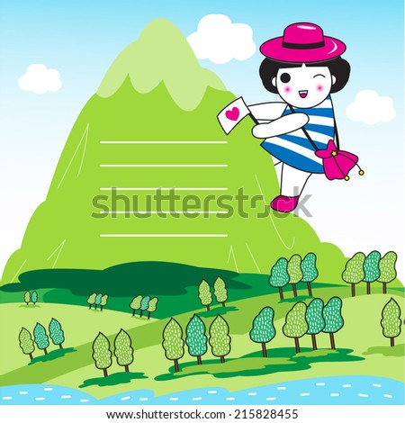 Cute Mountain Climber paper note illustration set - stock vector