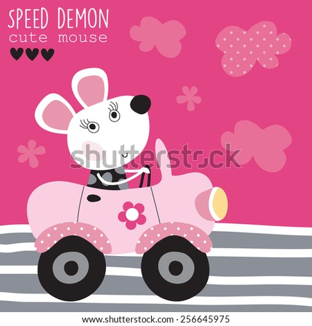 cute mouse in car vector illustration - stock vector