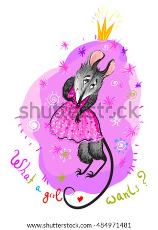 Cute mouse smiling on a pink background. Sparkles princess crown on mice. Greeting card with a pretty shy mouse. What a girl wants.