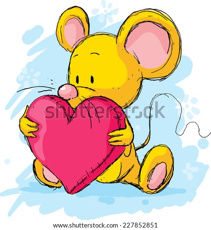 cute mouse with heart pillow - stock vector