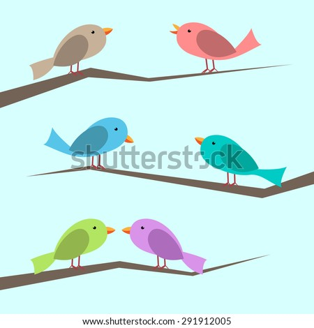 Cute multicolor vector birds perched on branches set. Perched, singing and couple looking at each other. Flat style. EPS 10 vector illustration, no transparency - stock vector