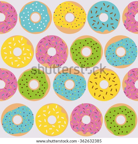 Cute multicolored pattern with sweet donuts. Seamless texture with dessert illustration. - stock vector