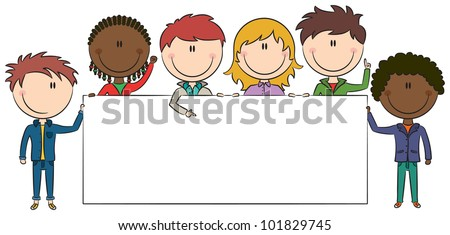 Cute multiethnic boys and girls holding empty blank banners. Color version. - stock vector