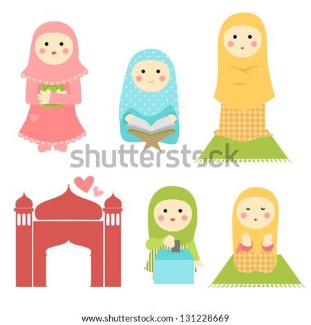Cute Muslim Girl - stock vector