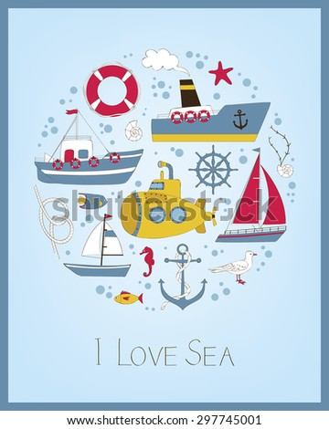 Cute nautical card with vessels and marine symbols - stock vector