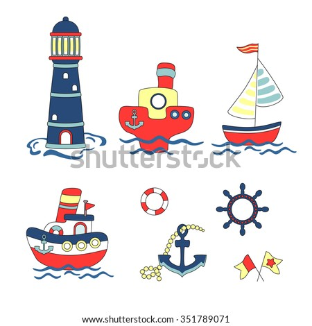 Cute Nautical cartoon set. Vector illustration - nautical baby design elements. Childish illustration. Isolated on white. Nautical elements in cartoon style. - stock vector