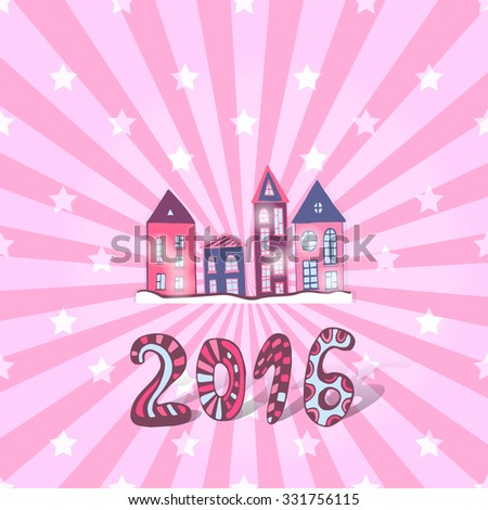 Cute New year background. Vector doodle sweet houses - stock vector