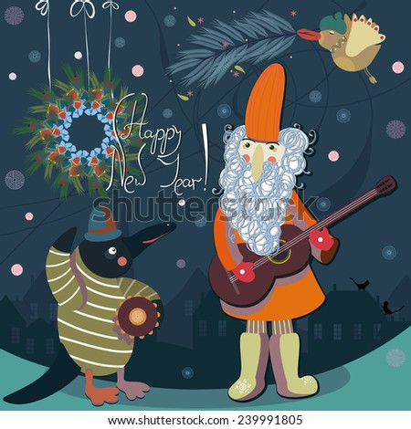 Cute New Year Santa  with a penguin and a bird - stock vector