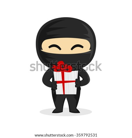 cute ninja holding gift box vector stock vector hd (royalty free