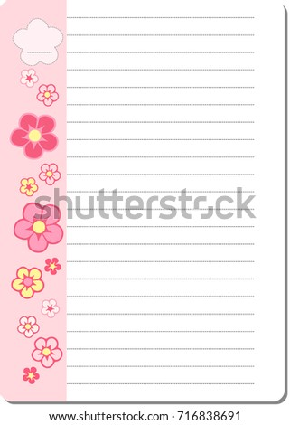 cute notebook paper background vector cards notes page notebook design with cute delicate flowers