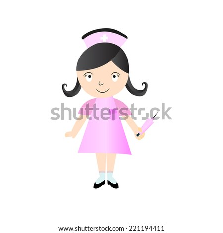 Stock vector cute nurse vector character cartoon illustration