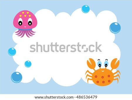 cute octopus and crab message card