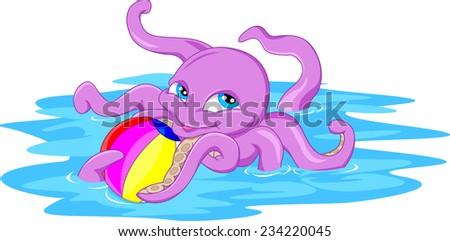 cute octopus cartoon with a ball - stock vector