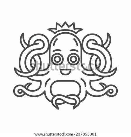 Cute octopus illustration in line art style - stock vector