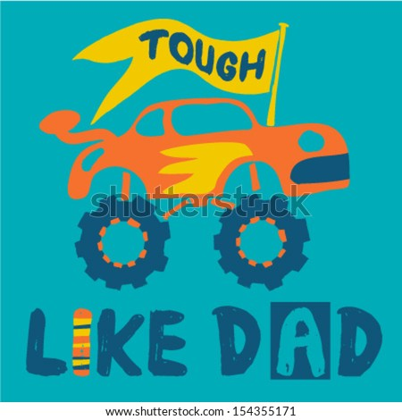 Cute off road vehicle with yellow flag for father's day - stock vector