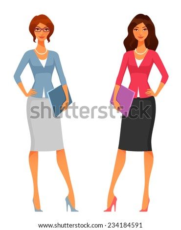 cute office girls in smart casual fashion - stock vector