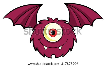 Cute One Eyed Monster Cartoon Character Flying With Text. Vector Illustration Isolated On White - stock vector