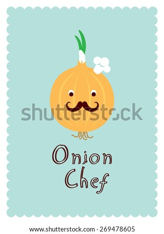 cute onion chef - stock vector