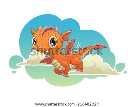 Cute orange cartoon dragon flying in the sky.  - stock vector