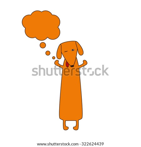 Cute orange colored brown contoured dachshund standing on hind legs with dissolved forelegs and empty dream bubble near it. Vector flat style illustration - stock vector