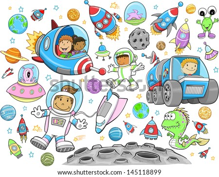 Cute Outer Space Vector Illustration Design Set - stock vector