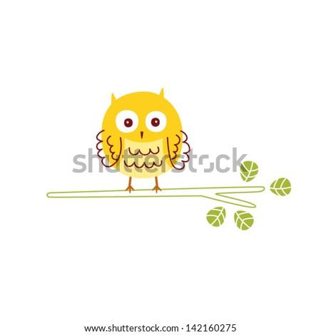cute owl - stock vector