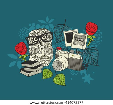 Cute owl and old photos. Romantic illustration in vector. - stock vector