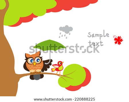 Cute owl and red bird sitting on branch with umbrella. Bird tree page design.Cartoon vector illustration. Autumn cute background with place for text. Childish picture. For card, tale illustration. - stock vector