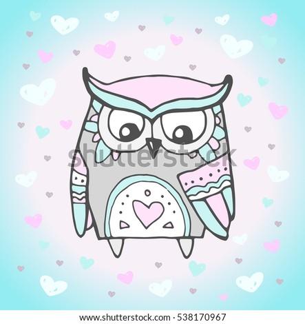 Cute owl bird heart pattern vector stock vector 538170967 cute owl bird heart pattern vector animal love bohemia concept for wedding invitation stopboris Choice Image