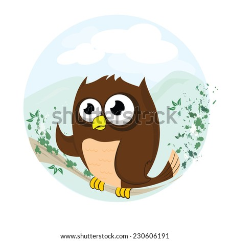 cute owl bird with beautiful background vector  - stock vector