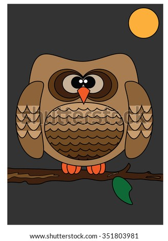 Cute owl brown on a tree branch, vector, Illustration