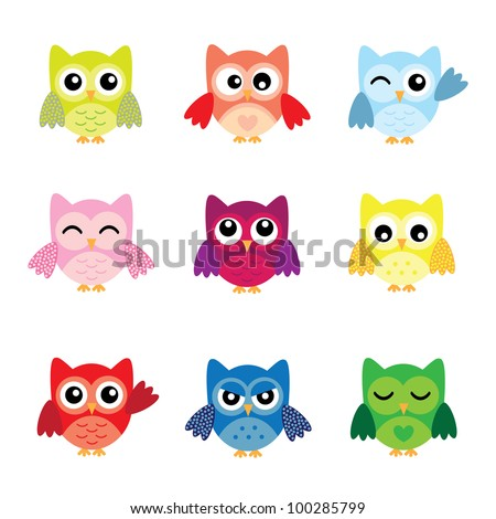 Cute Owl Logo Cute Owl Characters Stock