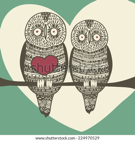 cute owl couple - stock vector