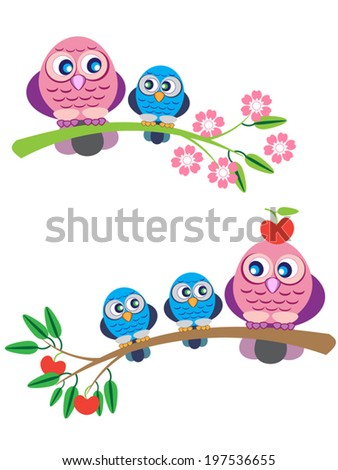 Cute owl family, mother and children, sitting on branch, spring and summer seasons. Cartoon vector illustration, isolated. May be used for a print, invitation, or whatever you like.
