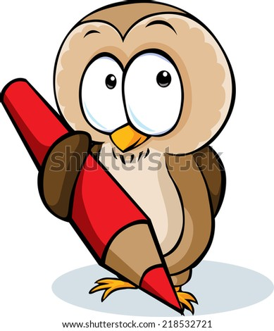 cute owl hold pencil cartoon - vector illustration isolated on white background - stock vector